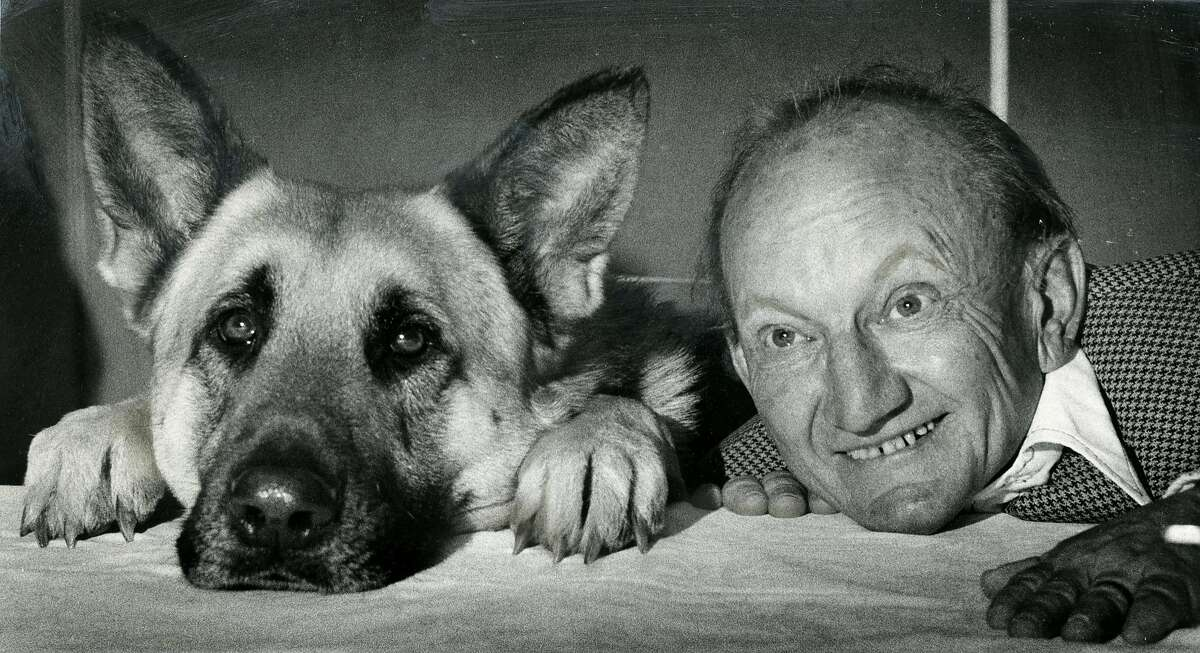 Actor Billy Barty with Won Ton Ton the German Shepherd. May 5, 1975
