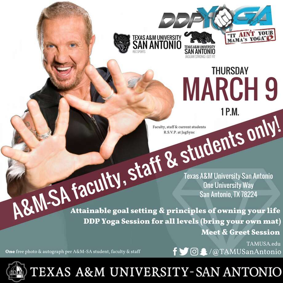 The WWE legend will host a 20-minute DDP Yoga session on campus on Thursday at 1 p.m., according to a university news release.