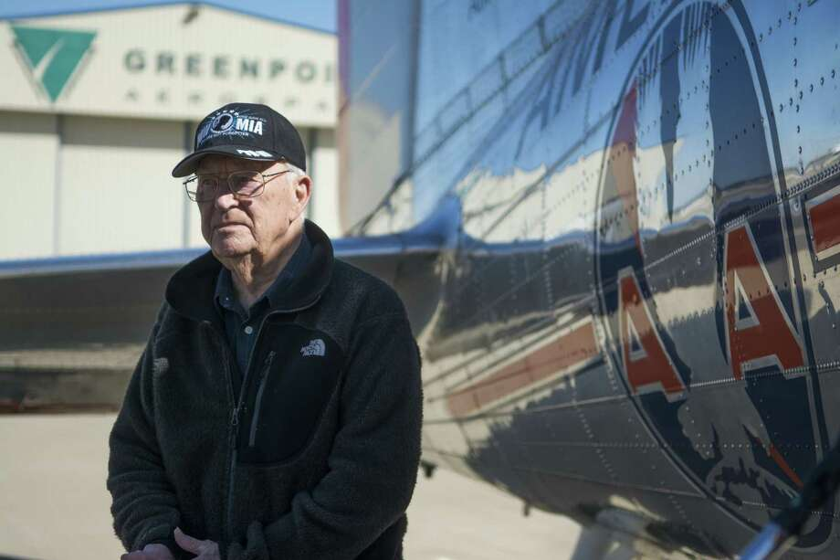 In a March 2, 2017 photo, WWII veteran, former POW and Denton, Texas resident Leroy Williamson stands next to the Flagship Detroit, a restored DC-3 airliner built in 1937, in Denton, Texas. Williamson, 96, flew over the city, reliving his experience resupplying West Berlin after the war. Photo: Daniel Burgess /AP / The Dallas Morning News