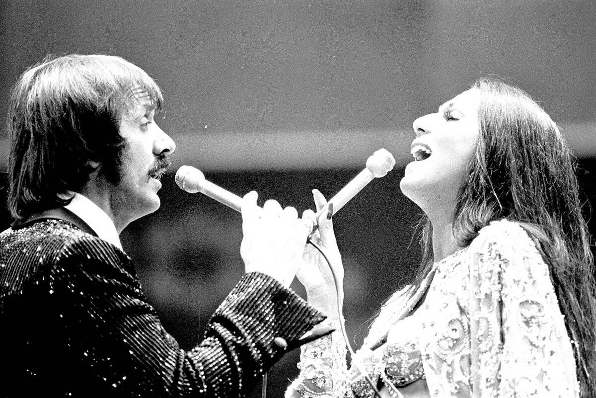 02/23/1974 -- Sonny and Cher perform at the Houston Rodeo in the Astrodome Feb, 23, 1974.