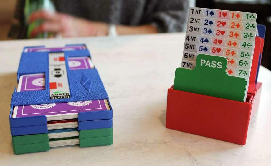 Cards set up for duplicate bridge Photo: Erin Kayata / Hearst Connecticut Media / Darien News