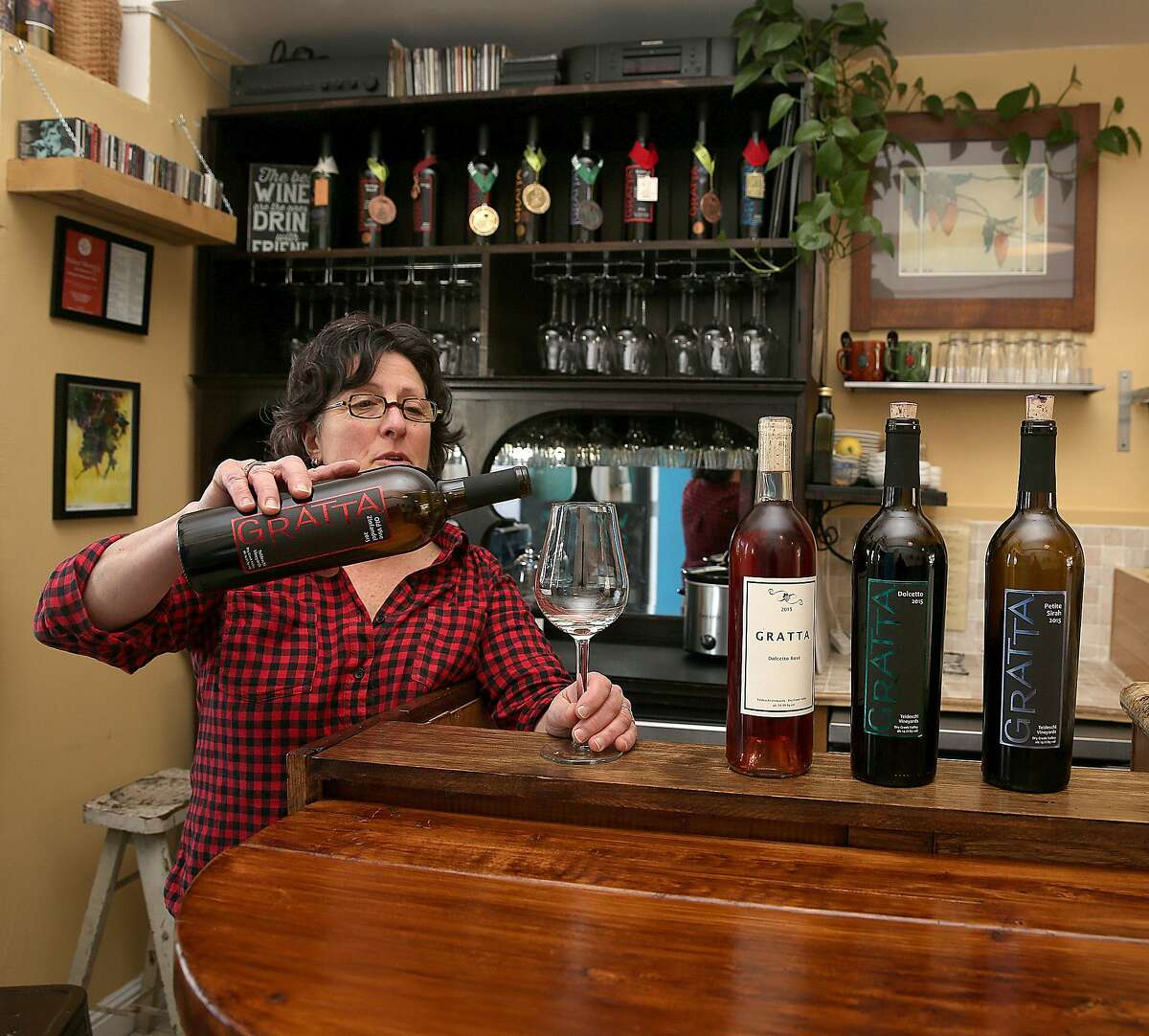 Barbara Gratta of Gratta Wines shows her tasting room at the Butchertown Gourmet Marketplace on Tuesday, March 7, 2017, in San Francisco, Calif.