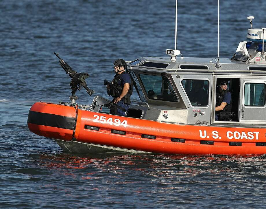 WEST PALM BEACH, FL - FEBRUARY 11:  A U.S. Coast Guard boat patrols the Intracoastal Waterway near Mar-a-Lago Resort where President Donald Trump is hosting Japanese Prime Minister Shinzo Abe on February 11, 2017 in West Palm Beach, Florida.  Photo: Joe Raedle, Getty Images