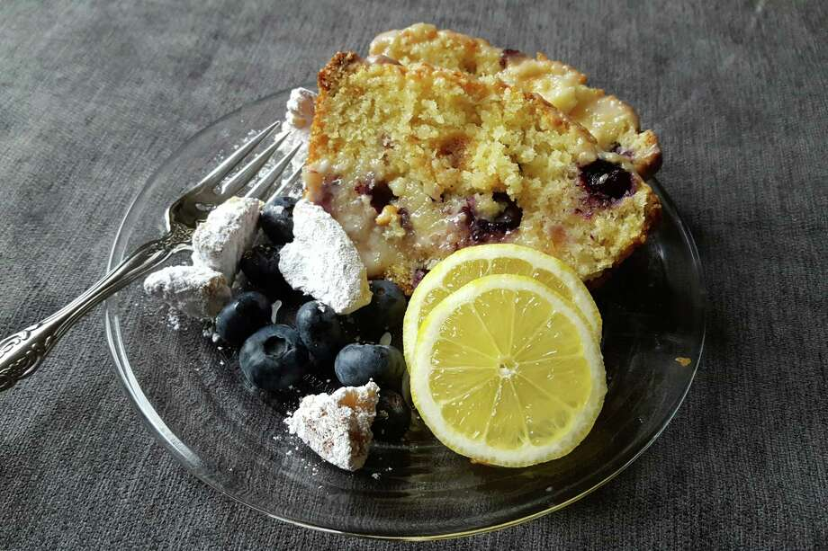 Lemon loaf cake is studded with blueberries and Savannah Smiles Girl Scout cookies. (Credit: Deanna Fox)