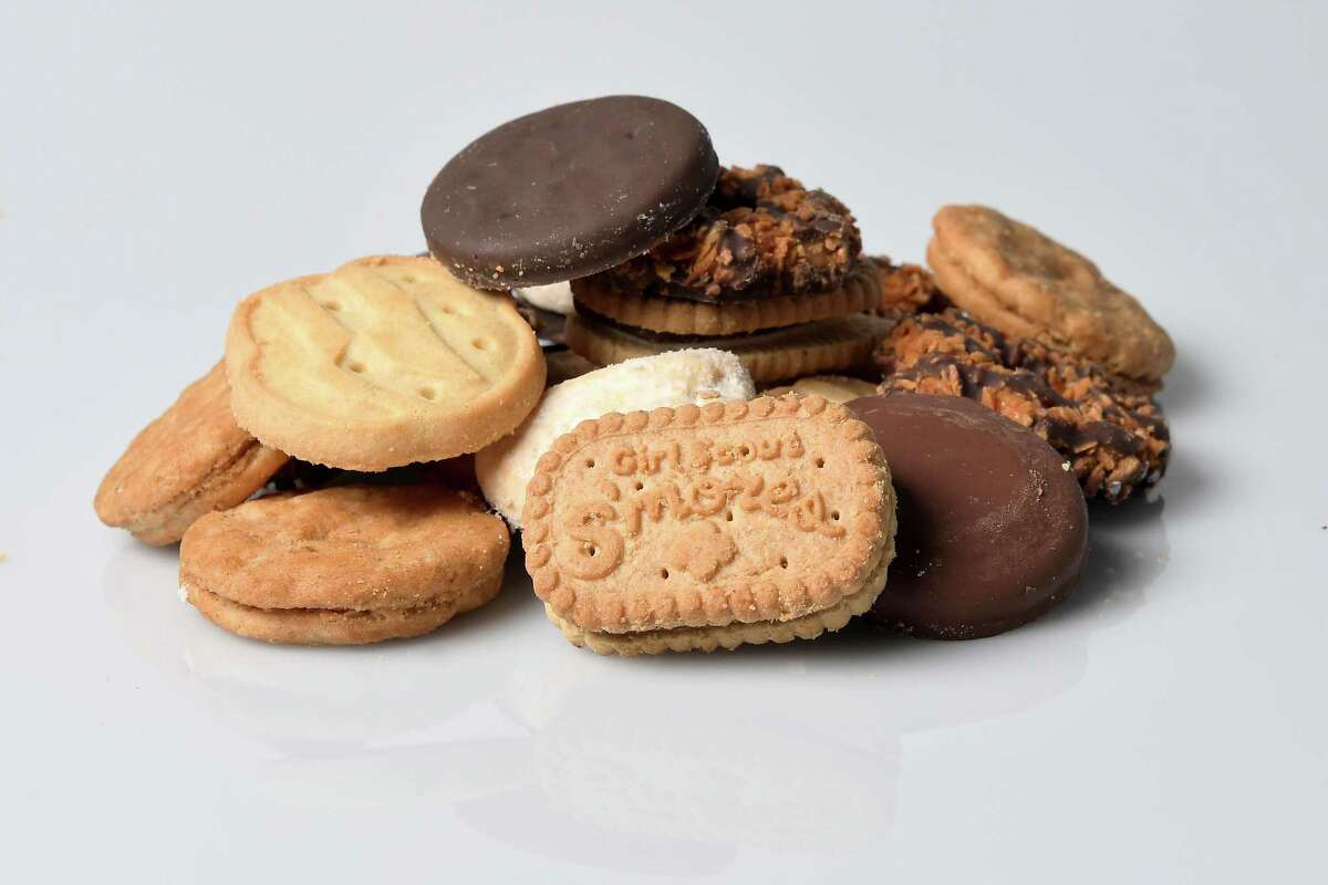 Girl Scout cookies include Girl Scout S'mores, Samoas, Do-si-dos, Tagalongs, Trefoils, Savannah Smiles and top seller Thin Mints.