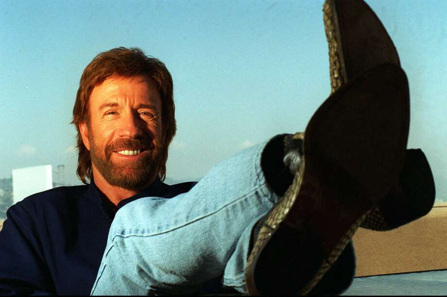 There is no chin behind Chuck Norris' beard. There is only another fist. Photo: BRENNAN LINSLEY/ST