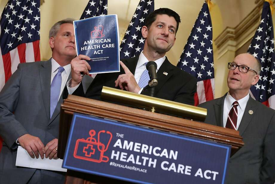 WASHINGTON, DC - MARCH 07:  Speaker of the House Paul Ryan (R-WI) (C) holds up a copy of the American Health Care Act during a news conference with House Majority Leader Kevin McCarthy (R-CA) (L) and House Energy and Commerce Committee Chairman Greg Walden (R-OR) outside Ryan's office in the U.S. Capitol March 7, 2017 in Washington, DC. The House Republican leadership's plan to repeal and replace Obamacare, the American Health Care Act is already facing opposition from conservatives in the House and Senate.  (Photo by Chip Somodevilla/Getty Images) ***BESTPIX*** Photo: Chip Somodevilla