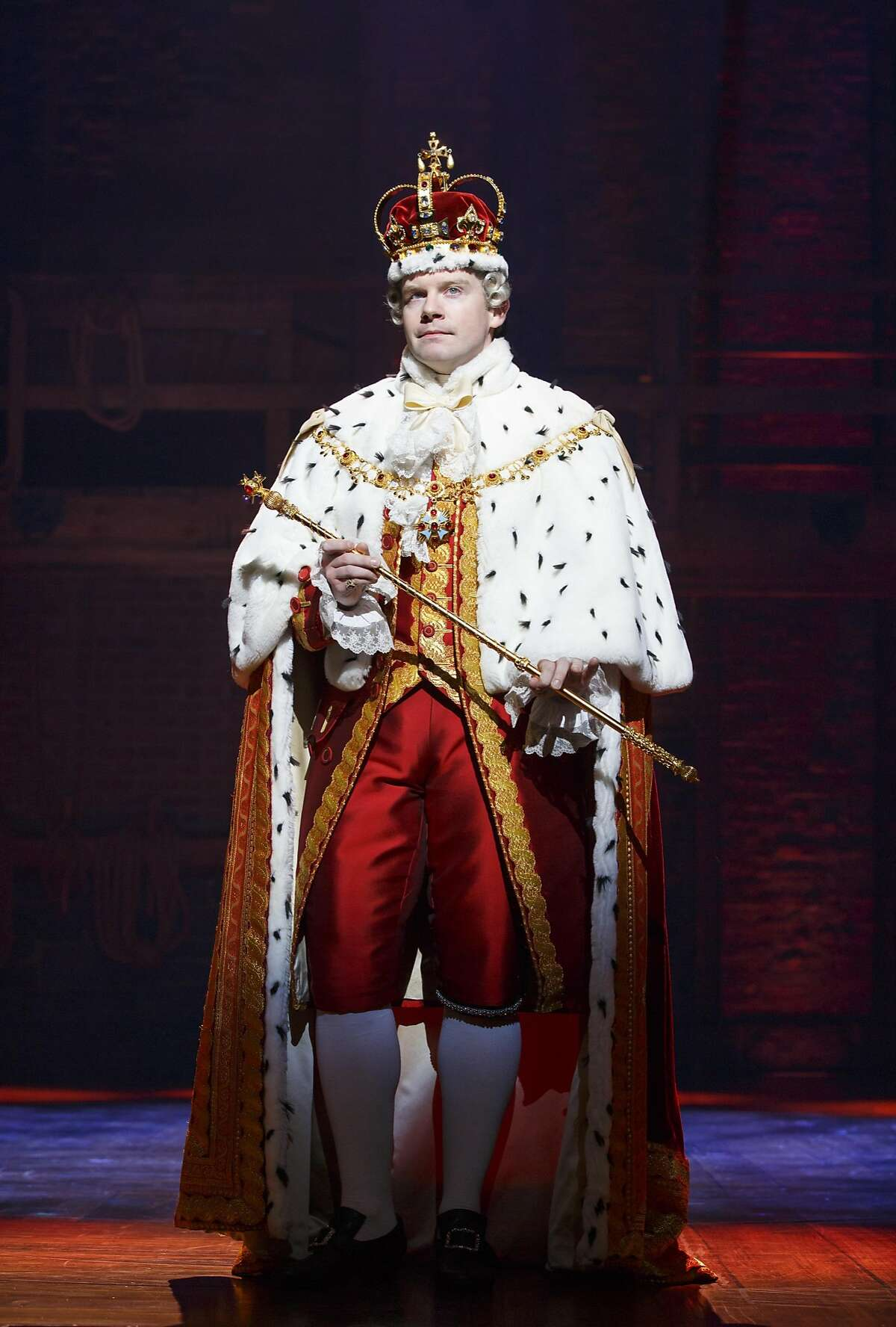 Rory O'Malley as King George III in SHN's