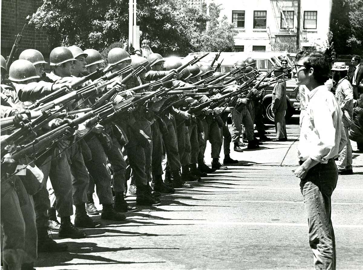 National Guard Units used at People's Park Demonstrations in Berkeley. Here on 2100 block of Durant Streeet clearing protesters, May 16, 1969