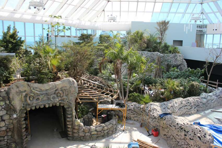 Photos show construction progress made on the new Caribbean wing at the aquarium, which is expected to open in May 2017.