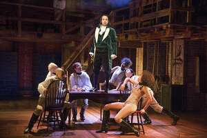 """FILE -- Lin-Manuel Miranda as Alexander Hamilton in """"Hamilton"""" at the Public Theater in New York, Jan. 18, 2015. The producers and creators of the red-hot musical about Alexander Hamilton have opted not to move it to Broadway this spring and therefore will not compete in the 2015 Tony Awards. (Sara Krulwich/The New York Times)"""