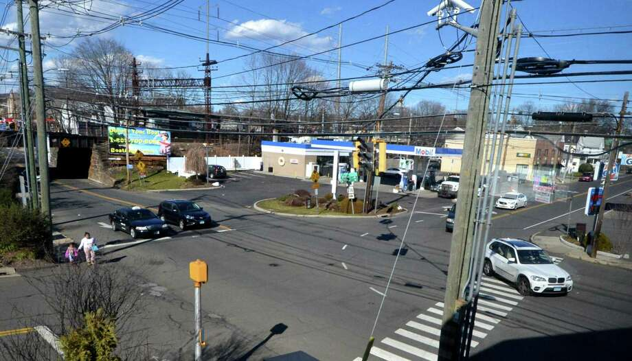 East Avenue looking north to the Metro North railroad bridge and the East Avenue train station with Winfield Street, Route 136 on the right heading east to Strawberry Hill Avenue on Wednesday in Norwalk. Photo: Alex Von Kleydorff / Hearst Connecticut Media / Norwalk Hour