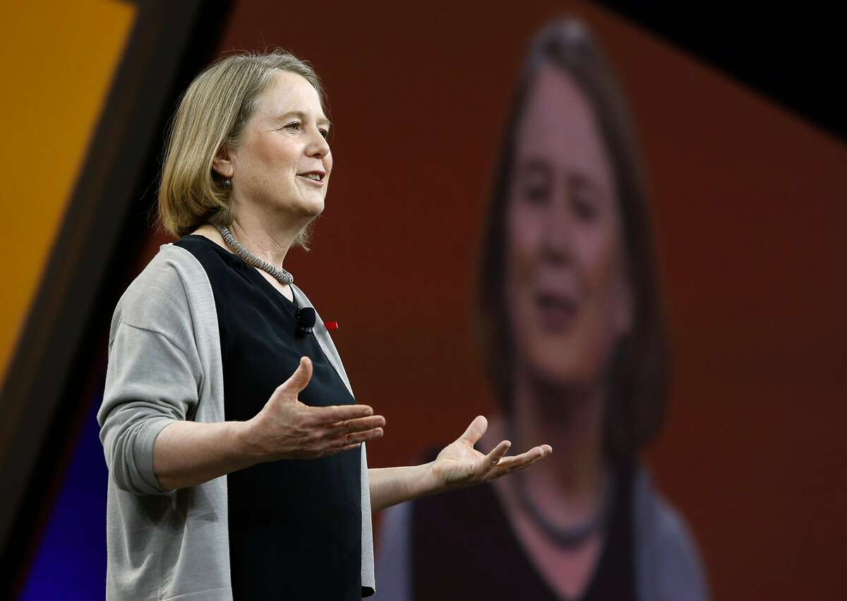 Diane Greene, senior VP of Google Cloud, speaks during the keynote address at the Google Cloud Next '17 conference at the Moscone Convention Center in San Francisco, Calif. on Wednesday, March 8, 2017.