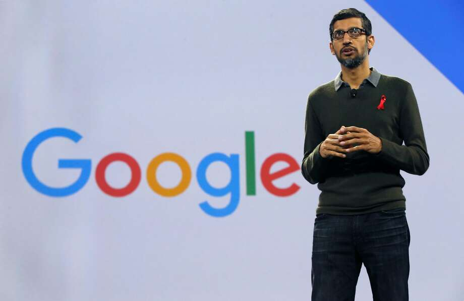 Google CEO Sundar Pichai speaks during the keynote address at the Google Cloud Next '17 conference at the Moscone Convention Center in San Francisco, Calif. on Wednesday, March 8, 2017. Photo: Paul Chinn, The Chronicle