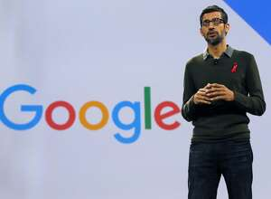 Google CEO Sundar Pichai speaks during the keynote address at the Google Cloud Next '17 conference at the Moscone Convention Center in San Francisco, Calif. on Wednesday, March 8, 2017.