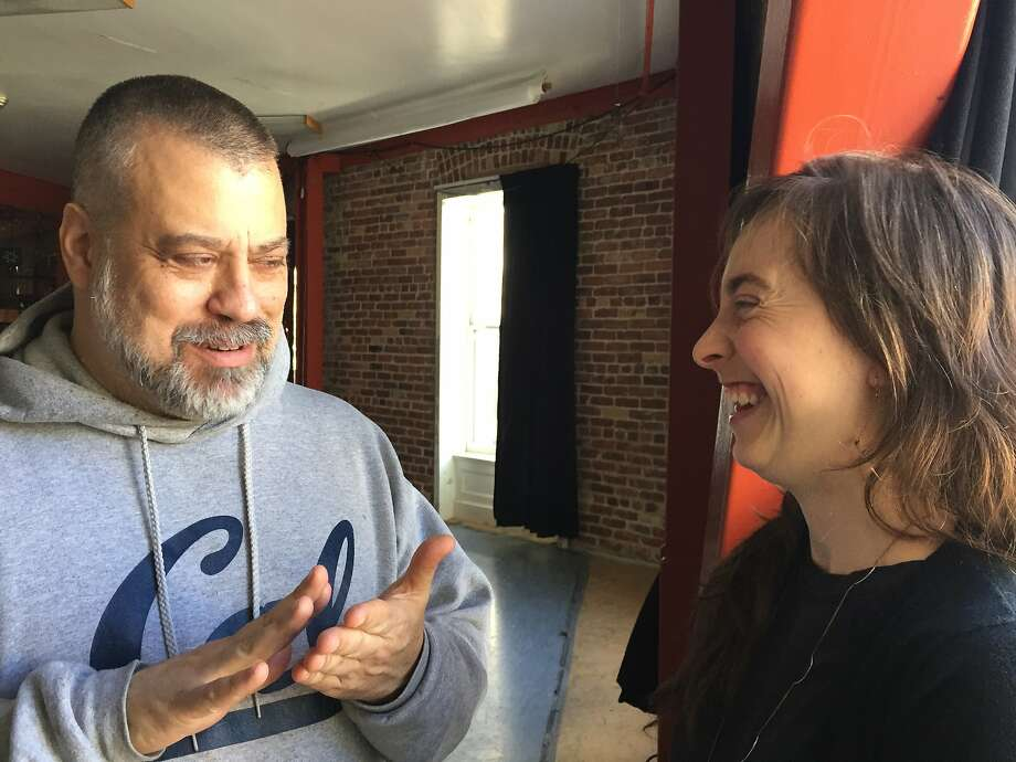 SAFEhouse for the Arts founder Joe Landini shares a laugh with Lili Weckler, a Lead Artist in his Resident Artist Workshop, at 1 Grove St. SAFEhouse will soon move to a long-term home at 145 Eddy St.  Photo by Claudia Bauer Photo: Claudia Bauer