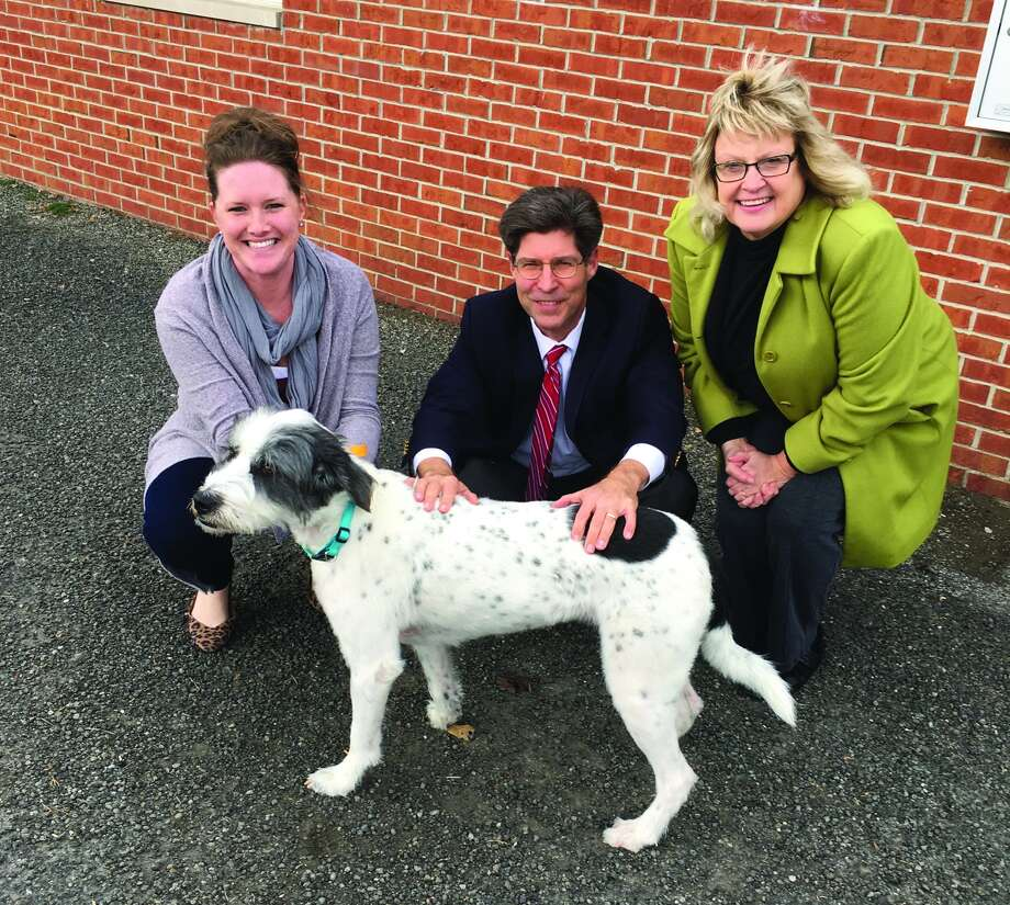 Anne Schmidt, executive director Metro-East Humane Society, Madison County Board Chairman Kurt Prenzler, and Ledy VanKavage, senior legislative attorney with Best Friends Animal Society.