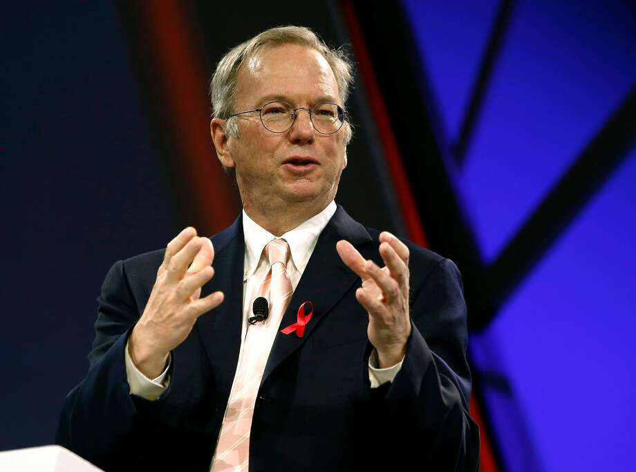 Alphabet executive chairman Eric Schmidt speaks during the keynote address at the Google Cloud Next '17 conference at the Moscone Convention Center in San Francisco, Calif. on Wednesday, March 8, 2017. Photo: Paul Chinn / The Chronicle 2017