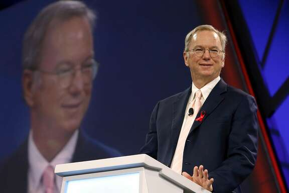 Alphabet executive chairman Eric Schmidt speaks during the keynote address at the Google Cloud Next '17 conference at the Moscone Convention Center in San Francisco, Calif. on Wednesday, March 8, 2017.