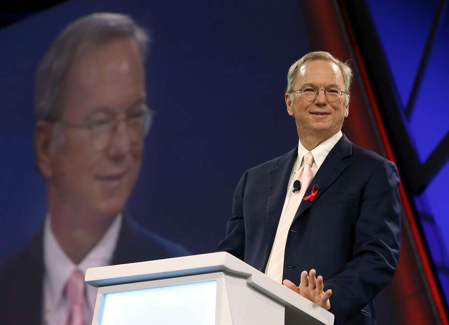 Alphabet executive chairman Eric Schmidt speaks during the keynote address at the Google Cloud Next '17 conference at the Moscone Convention Center in San Francisco, Calif. on Wednesday, March 8, 2017. Photo: Paul Chinn, The Chronicle