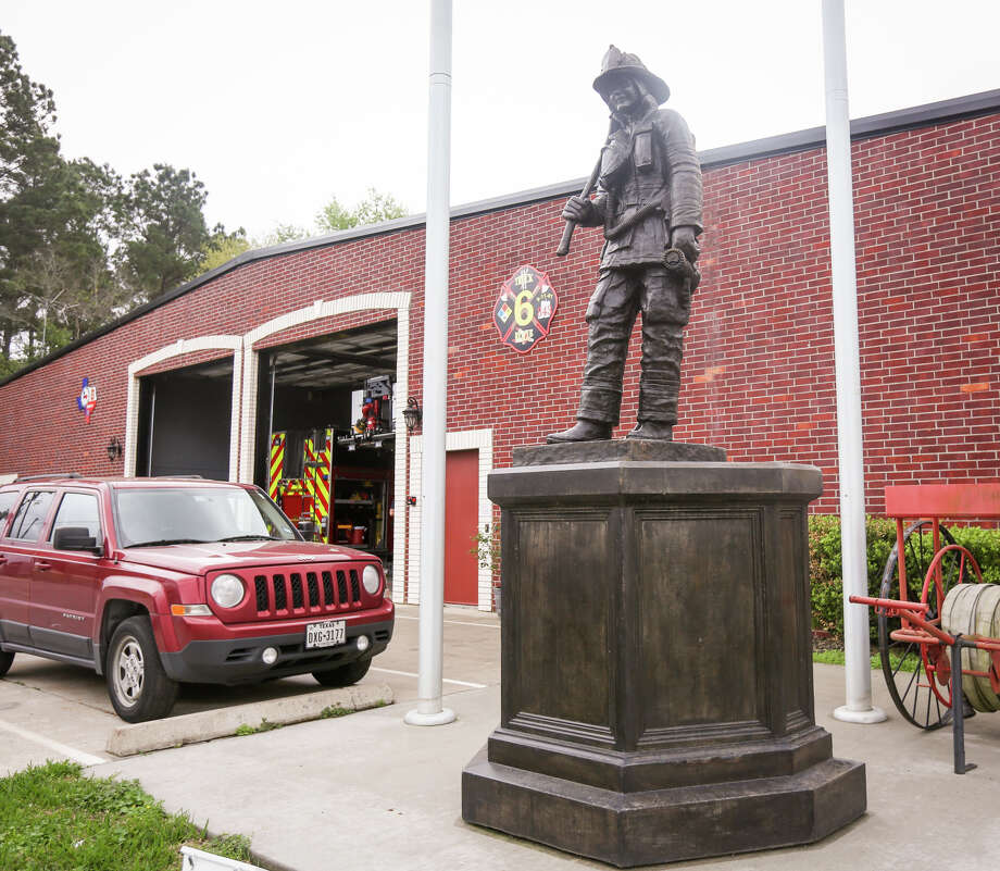 Needham Fire Chief Kevin Hosler plans for the new Montgomery County Fallen Firefighters Memorial at the Lone Star Convention and Expo Center to be modeled after a statue in front of Needham Fire Rescue Station 61. Photo: Michael Minasi, Staff Photographer / © 2017 Houston Chronicle