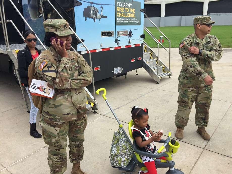 """""""She's a future soldier,"""" Army Captain Lolien Reese says of her daughter, LaToya. """"We're prepping her for the Army."""" Photo: Mike Glenn"""