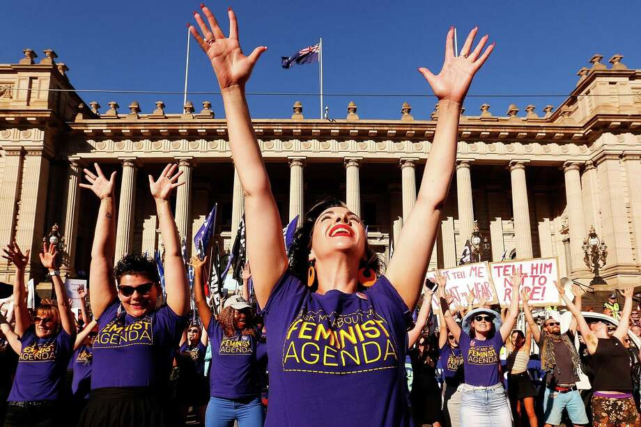 MELBOURNE, AUSTRALIA - MARCH 08:  Thousands of demonstrators attend a Rally for International Women's Day on March 8, 2017 in Melbourne, Australia.  Marchers were calling for de-conolisation of Australia, an end to racism, economic justice for all women and reproductive justice, as well as supporting the struggle for the liberation of all women around the world, inclusive of trans women and sex workers. Photo: Daniel Pockett, Getty Images / 2017 Getty Images