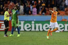 Houston Dynamo forward Erick Torres (9) reacts after his penalty kick went in for the first goal of the night for the Dynamo during the first half of the season opening MLS soccer game at BBVA Compass stadium, Saturday, March 4, 2017, in Houston.  ( Karen Warren / Houston Chronicle )