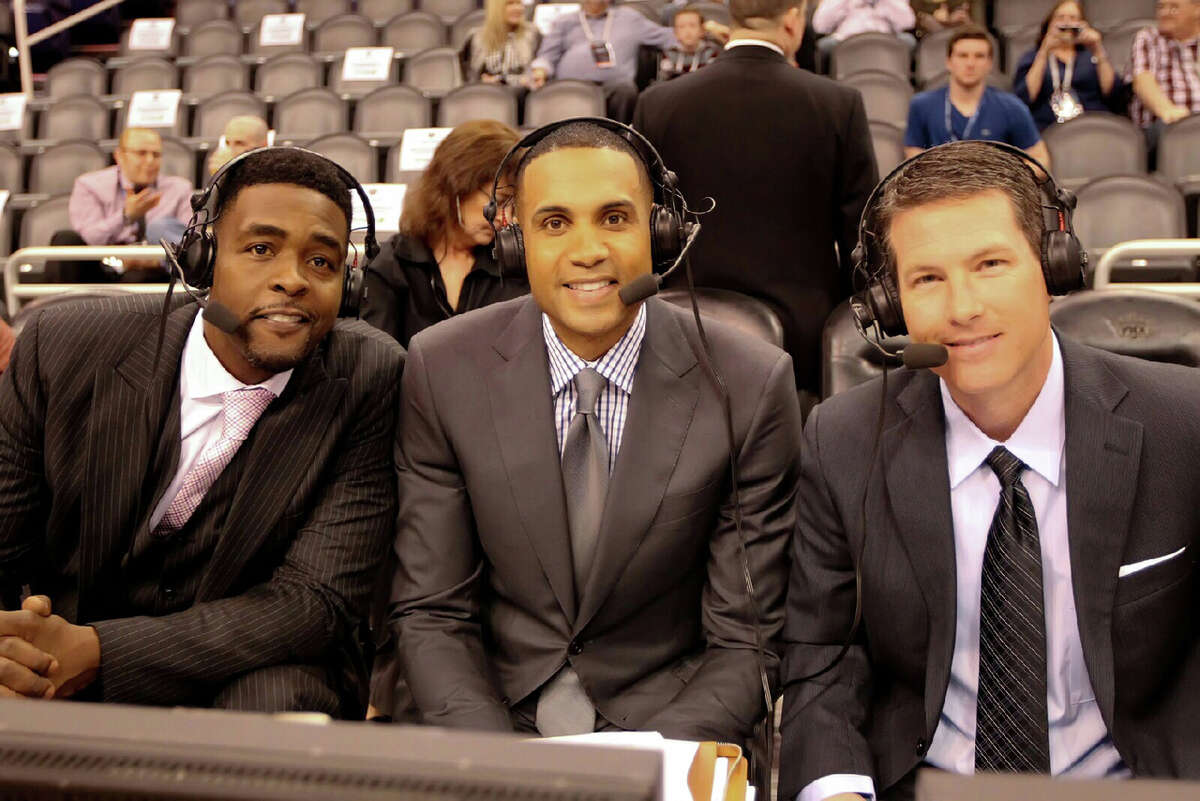 Brian Anderson (right) works games with Grant Hill (middle) and Chris Webber (left) in more recent basektball action. (date unconfirmed)