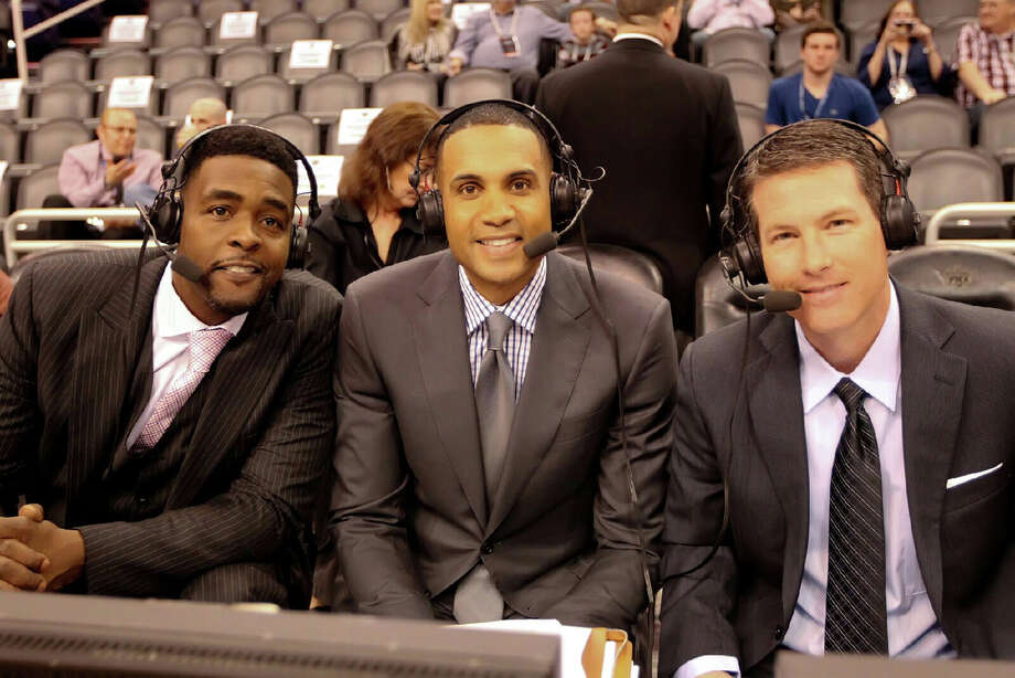 As part of his full plate of assignments, Brian Anderson, right, has worked NBA games for TNT with Grant Hill, center, and Chris Webber.