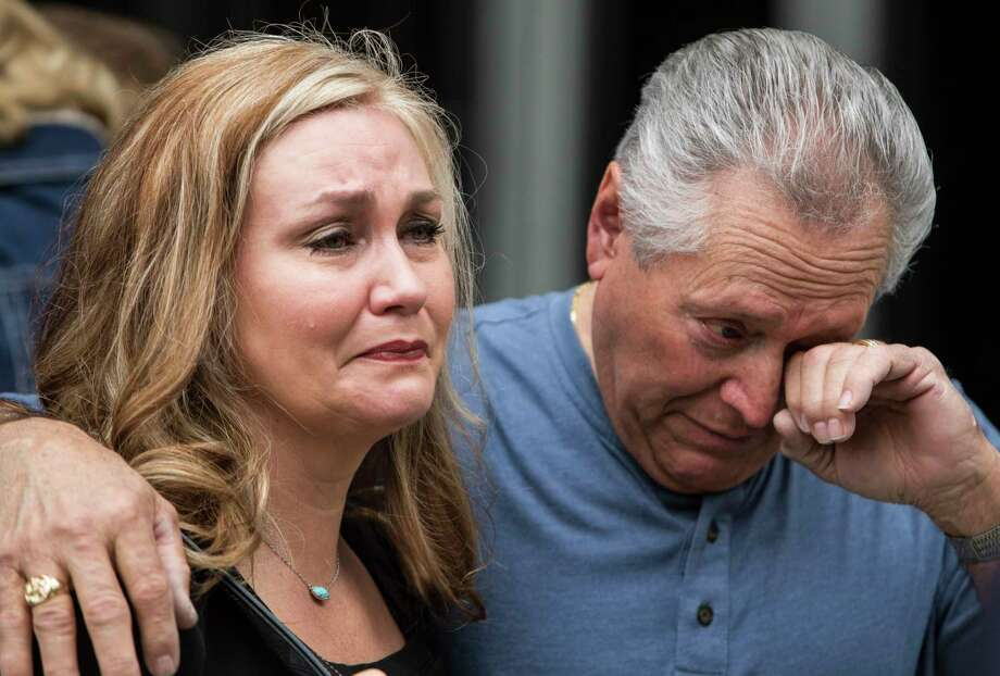 Joann Medina, left, and Adolfo Medina, mother and grandfather of Richard Aycock, are demanding answers on his death, including jail video and what happened when an officer visited his cell.   Photo: Brett Coomer, Staff / © 2017 Houston Chronicle