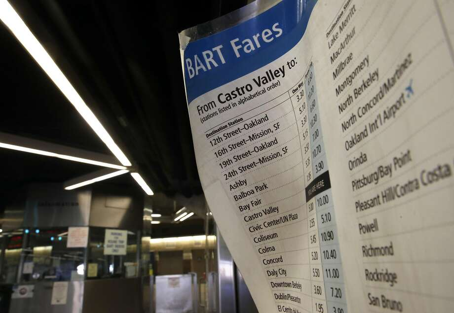 A BART fare schedule at the entrance to the Castro Valley BART station on Wed. March 8, 2017, in Castro Valley, Ca. Photo: Michael Macor, The Chronicle