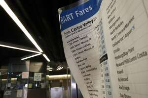 A BART fare schedule at the entrance to the Castro Valley BART station on Wed. March 8, 2017, in Castro Valley, Ca.