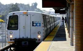 A train stops at the Castro Valley BART station on Wed. March 8, 2017, in Castro Valley, Ca.