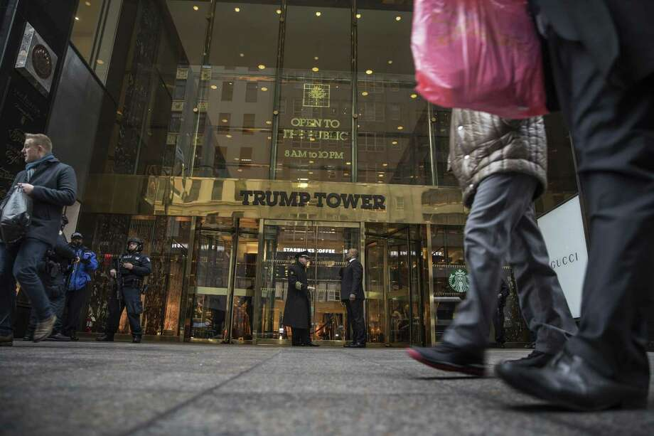 Security outside Trump Tower in New York, two days before the inauguration, Jan. 18, 2017. Without offering any evidence or sourcing, President Donald Trump last week accused his predecessor of tapping the phones at Trump Tower before the election in a series of tweets. Photo: VICTOR J. BLUE /NYT / NYTNS
