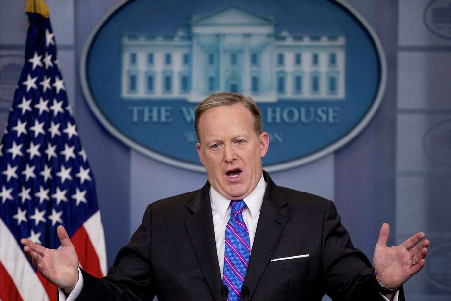 White House press secretary Sean Spicer talks to the media during the daily press briefing at the White House in Washington, Wednesday, March 8, 2017. (AP Photo/Andrew Harnik) Photo: Andrew Harnik, STF / Copyright 2017 The Associated Press. All rights reserved.