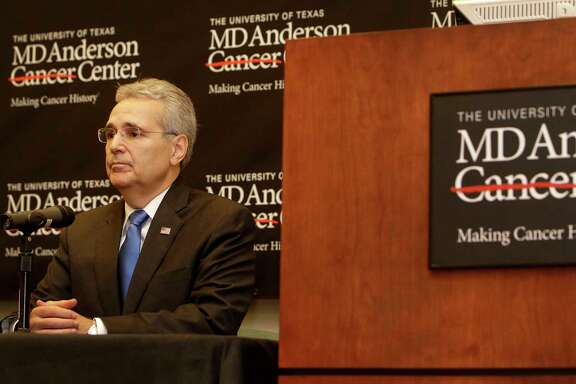 Dr. Ronald DePinho, president of The University of Texas MD Anderson Cancer Center, is shown during a news conference at the MD Anderson South Campus Research II Building, 7435 Fannin, about a reduction in the institution's workforce Thursday, Jan. 5, 2017, in Houston.