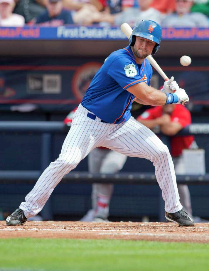 New York Mets designated hitter Tim Tebow lets a pitch go by during his second at-bat in the team's spring training baseball game against the Boston Red Sox on Wednesday, March 8, 2017, in Port St. Lucie, Fla. (Molly Bartels/The Stuart News via AP) ORG XMIT: FLSTU321 Photo: MOLLY BARTELS / The Stuart News