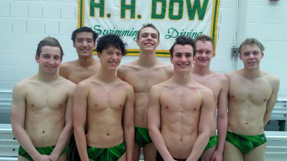 From left, Dow High's Noah Behm, Collin Che, Joey Park, Ben Newman, Hans Dehn, Zach Fewkes and Jacob Krzciok will compete at the Division 2 swim finals at Eastern Michigan University.