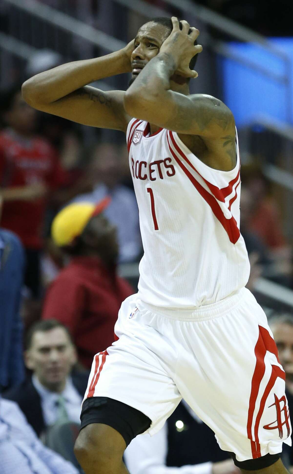 Houston Rockets forward Trevor Ariza (1) reacts after being called for a foul agaisnt the Utah Jazz during the fourth quarter of an NBA basketball game at Toyota Center on Wednesday, March 8, 2017, in Houston. ( Brett Coomer / Houston Chronicle )