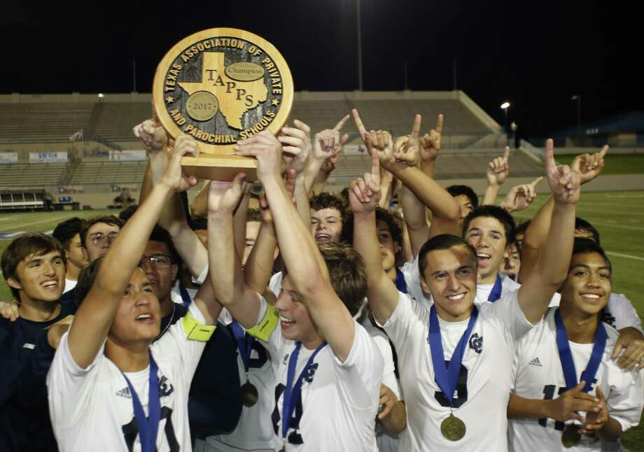 San Antonio Central Catholic players celebrate with  their State Championship trophy over Houston St. Pius during the second half of a High School Soccer TAPPS Division I State Championship at WacoISD Stadium on  March 8, 2017 in Waco, Texas. Centraal Texas Won 6-1. Jose Yau/Special Contributor Photo: Jose Yau