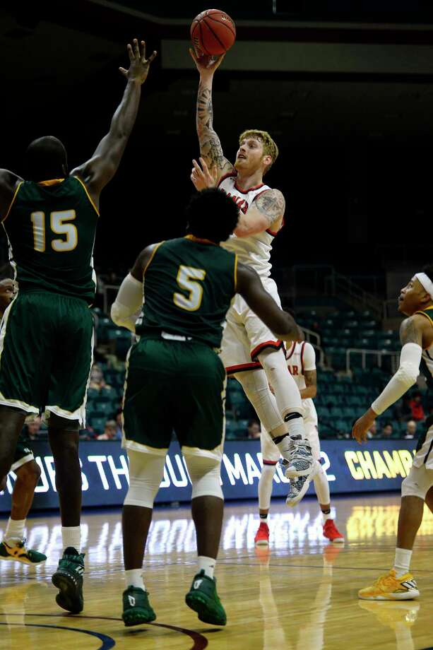 Lamar forward Colton Weisbrod takes a shot against Southeastern Louisiana in the Southland Conference tournament at the Merrell Center in Katy on Wednesday evening.  Photo taken Wednesday 3/8/17 Ryan Pelham/The Enterprise Photo: Ryan Pelham / ©2017 The Beaumont Enterprise/Ryan Pelham