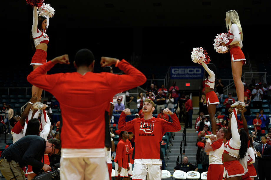 Lamar forward Colton Weisbrod is introduced with the starting lineup before the Cardinals play Southeastern Louisiana in the Southland Conference tournament at the Merrell Center in Katy on Wednesday evening.  Photo taken Wednesday 3/8/17 Ryan Pelham/The Enterprise Photo: Ryan Pelham / ©2017 The Beaumont Enterprise/Ryan Pelham