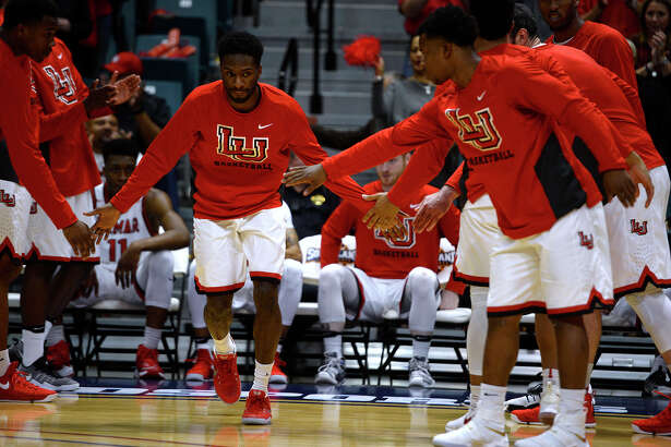 Lamar guard Lincoln Davis is introduced with the starting lineup before the Cardinals take on Southeastern Louisiana in the Southland Conference tournament at the Merrell Center in Katy on Wednesday evening.  Photo taken Wednesday 3/8/17 Ryan Pelham/The Enterprise