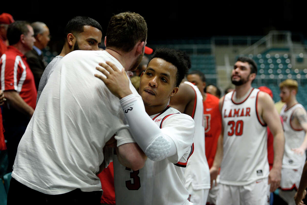 Lamar guard Nick Garth greets fans after they beat Southeastern Louisiana in the Southland Conference tournament at the Merrell Center in Katy on Wednesday evening. Photo taken Wednesday 3/8/17 Ryan Pelham/The Enterprise