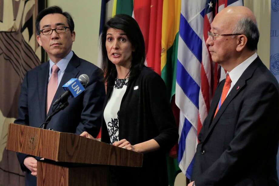 South Korea's Ambassador Cho Tae-yul, left, U.S. Ambassador Nikki Haley, center, and Japan's Ambassador Koro Bessho hold a joint news conference after consultations of the United Nations Security Council, Wednesday, March 8, 2017. (AP Photo/Richard Drew) ORG XMIT: UNRD109 Photo: Richard Drew / AP