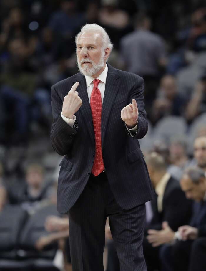 San Antonio Spurs head coach Gregg Popovich directs his players during the second half of an NBA basketball game, Wednesday, March 8, 2017, in San Antonio. San Antonio won 114-104. Twitter users noticed Pop's unusual in-game look and speculated about what happened online. Photo: Eric Gay/Associated Press