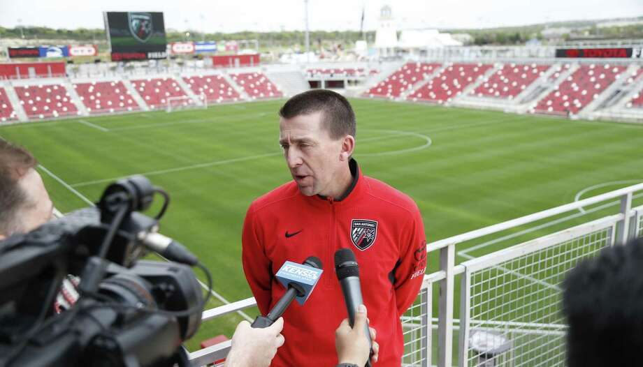 San Antonio FC head coach Darren Powell interviewed at media day event on Tuesday, March 8, 2017, at Toyota Field. Photo: Ron Cortes /For The Express-News