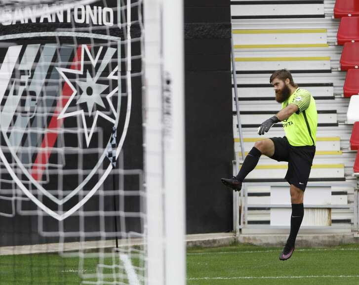 San Antonio FC goalie Matt Cardone poses for photographs during the team's media day event on March 8, 2017 at Toyota Field.