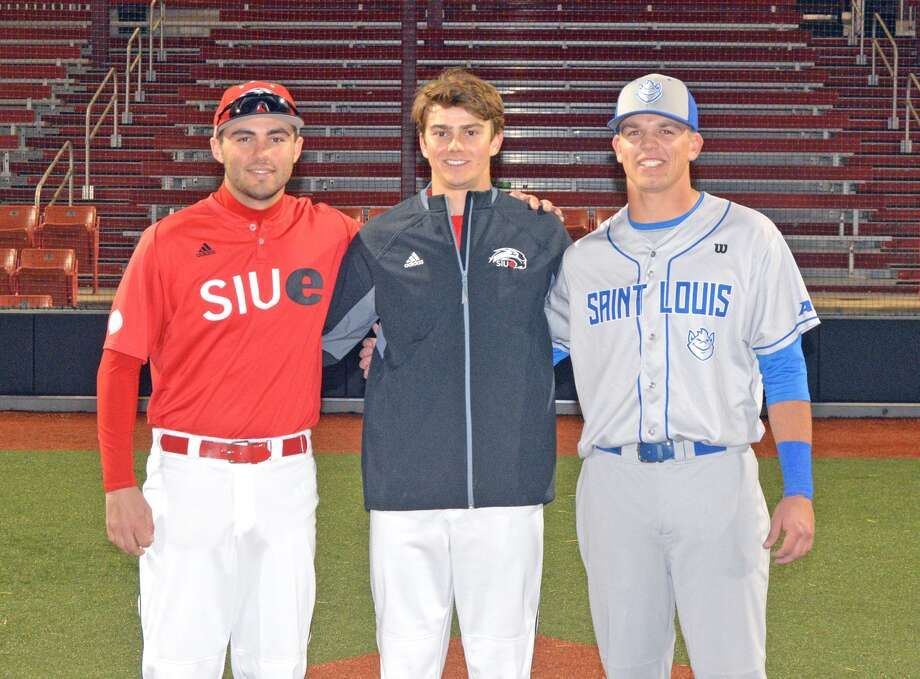 SIUE sophomores Aaron Jackson, left, and Brock Weimer, center, pose for a photo with Saint Louis University freshman Jake Garella after Wednesday's game at SIUE. All three players are Edwardsville High School graduates.